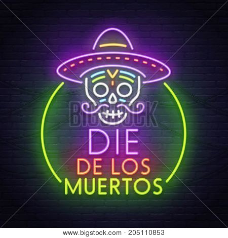 Skull neon sign. Day of the Dead(Dia de Muertos). Neon sign, bright signboard, light banner.