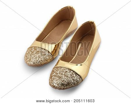 Golden Women Sandal Shoes isolated on White background