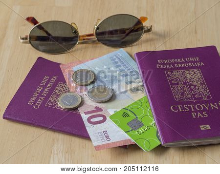 Travel South Europe - Five And Ten Euros Bank Bill And Two And One Euro Coins And Credit Card On Eu