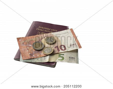 Travel Europe - Five And Ten Euros Bank Bill And Two And One Euro Coins On Eu Passport Czech Republi