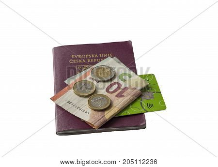 Travel Europe - Five And Ten Euros Bank Bill And Two And One Euro Coins And Credit Card On Eu Passpo