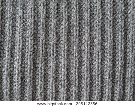 Grey Wool Hand Knitted Texture Abstract Background