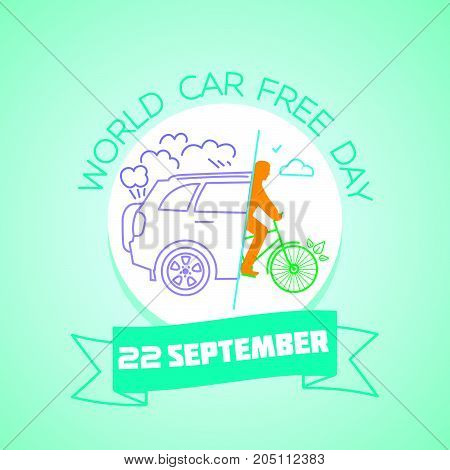 Calendar for each day on september..22. Greeting card. Holiday - World Car free Day. Icon in the linear style