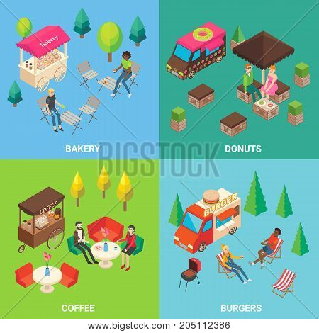 Vector set of street food concept square posters or banners with donut and burger trucks, bakery and coffee carts. Fast food mobile shops and buyers isometric icons.