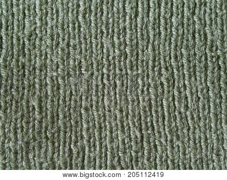 Olive Green Wool Hand Knitted Texture Abstract Background