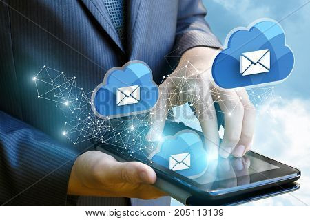 Businessman Works With Cloud Mail.