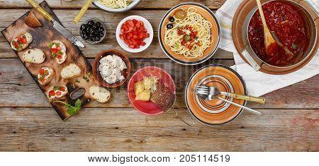 Traditional Italian Vegetarian Dinner. Dinner At Home