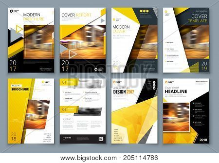 Cover design set. Yellow Corporate business template for brochure, report, catalog, magazine, book, booklet. Layout with modern elements and abstract background. Creative vector concept poster