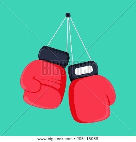 Red boxing gloves hanging on nail of wall, flat design icon. Vector illustration