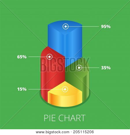 Pie chart on isolated background. Isometric pie charts different heights. Business data colorful elements for infographics. Vector illustration.