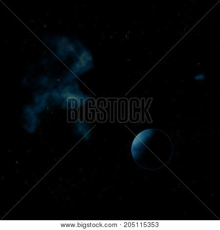 Planets in a space against stars and nebula. Elements of this image furnished by NASA . 3D rendering.