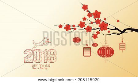 Chinese new year 2018 with blossom wallpapers. Year of the dog