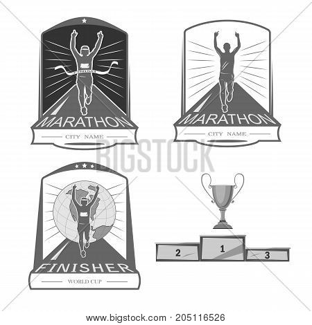 a set of emblems, shortcuts and icons for the design of the sport. there is a marathon, a sprint, a mass race. White background .