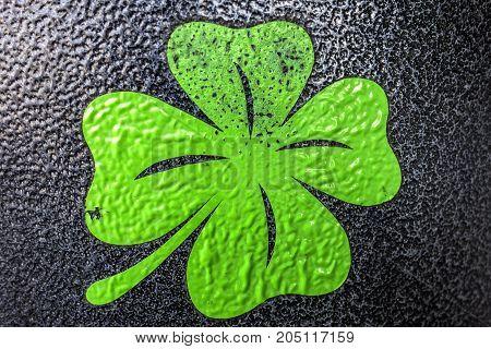 Four leaf clover on a dark metallic background.