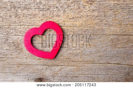 Heart Shape On Rustic Wooden Background