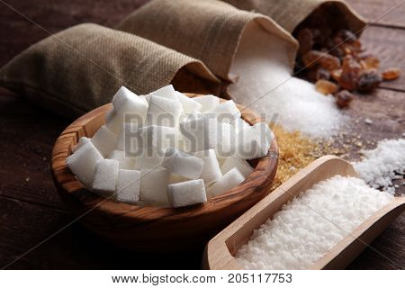 Various Types Of Sugar, Brown Sugar And White On Wooden Table