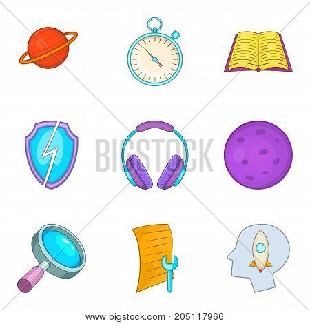 Brainstorm icons set. Cartoon set of 9 brainstorm vector icons for web isolated on white background