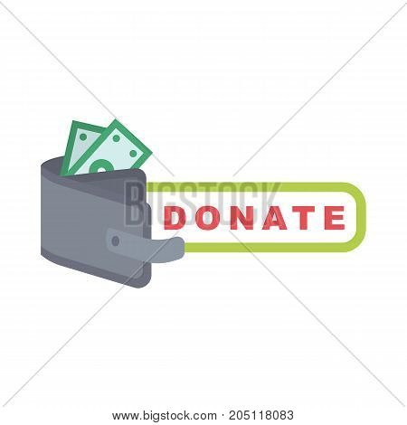 Donate button with purse, dollar bill. Help gray and green bank notes. Gift charity. Isolated support design. Contribute, contribution, give money, giving symbol. Vector illustration