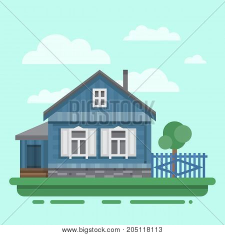 Country old blue house with fence, trees. Colorful village russian old house. Countryside colored wood house. Cute outback hut with decoration. Vector illustration art with blockhouse.