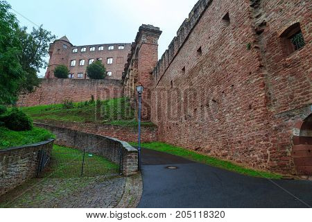Ancient castle of Wertheim. View from outside on the fortress walls and wall without windows against the sky. Germany. Tourist attraction