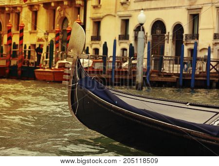 Gondolas Floating In Main Canal In Venice, Italy. Architecture And Old Houses Of Venice In Bright Ye