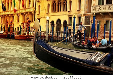 Venice, Italy-15 September, 2017: Gondolas Floating In Main Canal In Venice, Italy. Architecture And