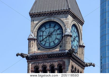 A close up of the Clock Tower at the Old Courthouse in Toronto