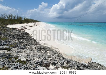 The view of an endless beach on Half Moon Cay uninhabited island (Bahamas).