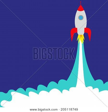 launch of a space rocket ship, vector illustration
