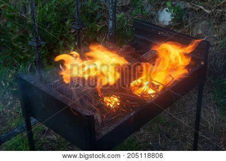 Preparation for braai, fire for future barbecue