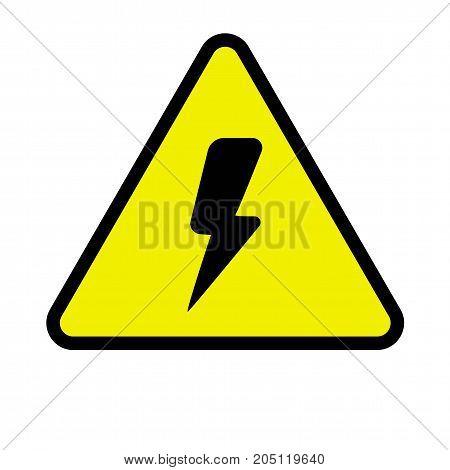Flat icon dangerous sign with lightning bolt symbol. Vector illustration.