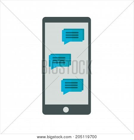 Flat icon messages on mobile phone. Vector illustration. Messaging communication.