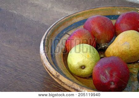 apples and pear in vintage bowl with impressionism brush stroke effect