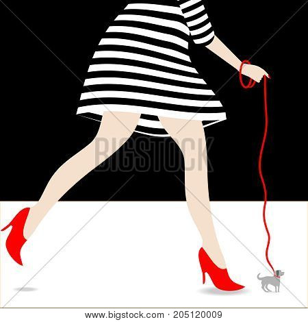 A woman in a striped dress and high heels walks an impossibly little dog in a humorous minimalist surreal illustration.