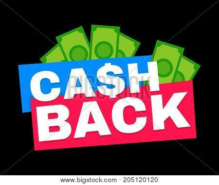 Cash back. Vector modern flat style cartoon character illustration icon design.Isolated on black background. Cash back concept,cashback or money refund label
