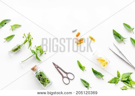 Harvest medicinal herb pattern. Leaves, bottles and sciccors on white background top view.