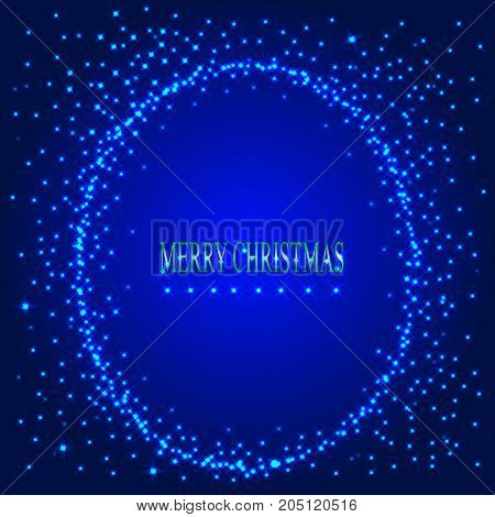 Blue background with round frame from stars. Illustration for holidays merry christmas and new year.