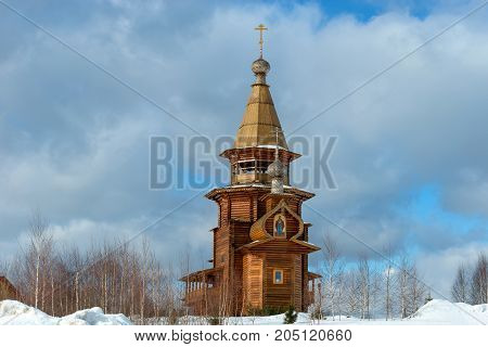 Temple of St. Sergius of Radonezh at the waterfall gremyachiy key. Svyatogorye. Moscow region village Vzglyadnevo