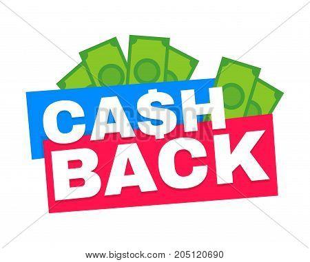 Cash back. Vector modern flat style cartoon character illustration icon design.Isolated on black background. Cash back concept,cashback or money refund label