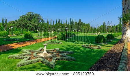 ACRE, ISRAEL - SEPTEMBER 18, 2017: View of the Bahai gardens in Acre (Akko) Israel
