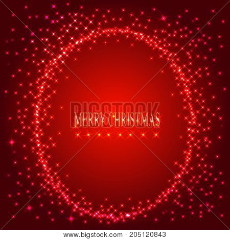 Red background with round frame from stars. Illustration for holidays merry christmas and new year.