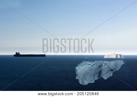 Motor Tanker Heading Towards An Big Iceberg