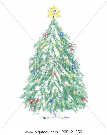 Christmas tree with golden star, candles, red bows, snow, hearts. Green symbol of Merry Christmas and Happy New Year for greetings cards, invitations, party, banners, advertising, shop, covers