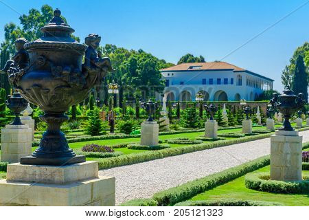 ACRE, ISRAEL - SEPTEMBER 18, 2017: View of the Bahai gardens and shrine in Acre (Akko) Israel