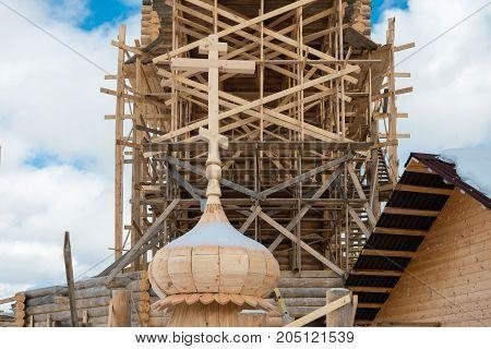 Holy spring gremyachiy Klyuch. Construction of a new temple Svyatogorye. Moscow region Sergiev Posad district village Vzglyadnevo