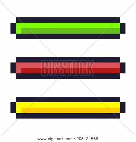 Loading progress bar pixel art cartoon retro game style set