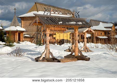 Holy spring Gremyachiy Klyuch. Pointer. Svyatogorye. Moscow region Sergiev Posad district village Vzglyadnevo