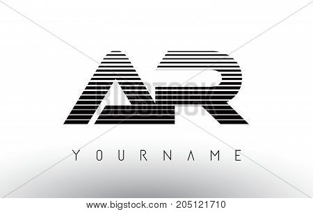 AR   Black and White Stripes Letter Logo Design with Horizontal Lines.