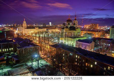 Night winter Voronezh aerial cityscape, prospect of Revolution, the Annunciation Cathedral