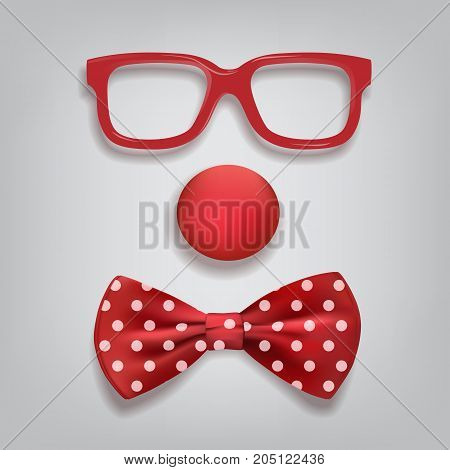 Vector clown glasses, nose and bow tie polka dot. Clown accessories isolated on gray background.